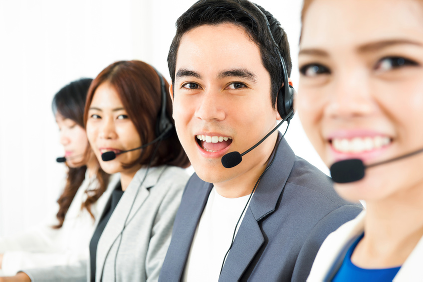 Asian call center (telemarketer) team